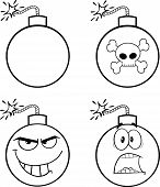 Black and White Bomb Cartoon Characters  Collection Set