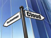 Cloud networking concept: sign Cloud Technology on Building background