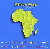 Africa map infographic political map individual states blue green card paper 3D raster