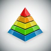stock photo of pyramid shape  - Pyramid with color segments vector design element - JPG