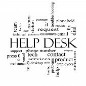 Help Desk Word Cloud Concept In Black And White