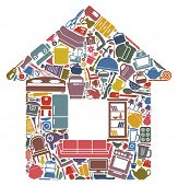 image of household  - Household goods in the form of the house - JPG