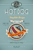 Vintage HOT DOG poster template for restaurant and street food sellers. Water Drops and ink drops ar