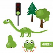 foto of dinosaurus  - Educational set of green colored things  - JPG