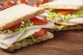 pic of nic  - delicious sandwiches with chicken breast salad cheese and tomatoes - JPG