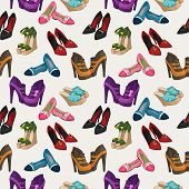 Seamless woman's fashion shoes pattern