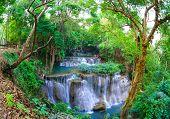 image of cataract  - Deep forest Waterfall in Kanchanaburi province Thailand - JPG