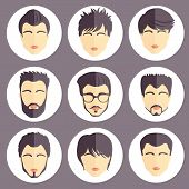 Vector Set Of Stylish Guys In Modern Flat Design