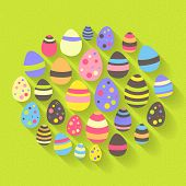 Easter Eggs Icon Set On A Green