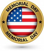 picture of memorial  - Memorial day gold label with USA flag vector illustration - JPG