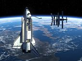 Space Station And Space Shuttle.