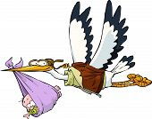 image of stork  - Stork with baby on white background vector illustration - JPG
