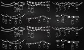 stock photo of masonic  - Vector Collection of Chalkboard Style Mason Jar Lights - JPG