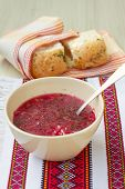 stock photo of pampushka  - Traditional Ukrainian beetroot soup  - JPG