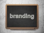 Marketing concept: Branding on chalkboard background