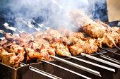 picture of bustiers  - bustier meat on skewers grilled on charcoal - JPG