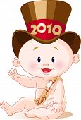 image of new years baby  - Cute baby in a top hat with a 2010 banner - JPG