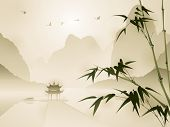 picture of bamboo leaves  - Oriental style painting - JPG