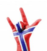 Hand Making I Love You Sign, Norway Flag Painted, Multi Purpose Concept - Isolated On White Backgrou