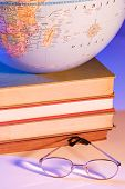 foto of midterm  - Globe on stack of books - JPG