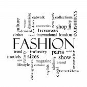 Fashion Word Cloud Concept In Black And White