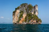 Steep limestone island in the Pang nga bay, Thailand