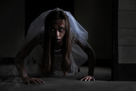 stock photo of terrific  - The Scary Bride ghost story in haunted house - JPG