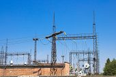 picture of substation  - large electrical substation which provides electric current district of the city - JPG