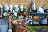 pic of washtub  - Traditional dutch farmer utensils with a washtub and buckets - JPG