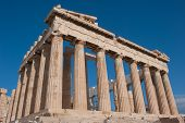 picture of parthenon  - columns of the Parthenon of Athens Acropolis on the background of blue sky - JPG