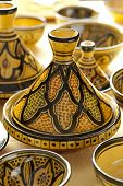 stock photo of tagine  - Moroccan ceramic tagines on the market - JPG