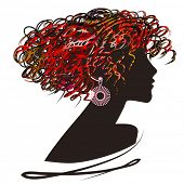 art sketched beautiful girl face with curly hair and bijou in profile in color and black graphic on  poster