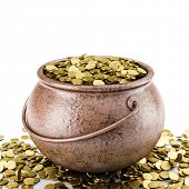 stock photo of copper coins  - copper pot with golden coin inside - JPG