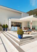 stock photo of penthouse  - beautiful terrace of a penthouse - JPG