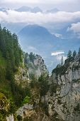 stock photo of bavarian alps  - Idyllic scenery of Bavarian Alps in Germany - JPG
