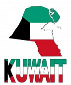 stock photo of kuwait  - Kuwait map flag and text vector illustration - JPG