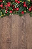 stock photo of mistletoe  - Christmas background border with red bauble bell decorations - JPG