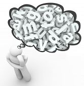image of brain-teaser  - 3d letters in thought cloud over a thinking person to illustrate miscommunication - JPG