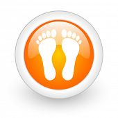 stock photo of webbed feet white  - foot orange glossy web icon on white background - JPG