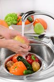 pic of mixing faucet  - Washing fruits and vegetables close - JPG