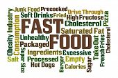 picture of high calorie foods  - Fast Food word cloud on white background - JPG