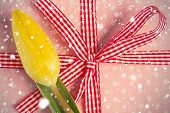 picture of girly  - Composite image of snow falling against yellow tulip resting on girly present - JPG