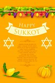 image of sukkot  - illustration of fruits hanging for Jewish festival Happy Sukkot - JPG