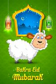 image of bakra  - illustration of sheep wishing Bakra Id mubarak - JPG