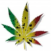 stock photo of rastafari  - Illustration of abstract symbol of marijuana on a white background - JPG