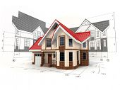 foto of blueprints  - House on the drafts in different projections and blueprints - JPG