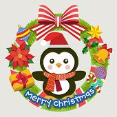 pic of christmas wreath  - Christmas wreath with Christmas decoration and penguin - JPG