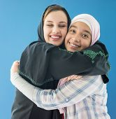 stock photo of hijabs  - Beautiful girls with a hijab together - JPG