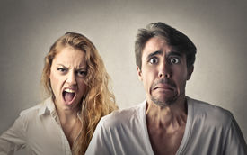 picture of shout  - Angry woman shouting and fearful man  - JPG