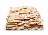 foto of frappe  - Try of Chiacchiere or frappe italian fried pastries on white background - JPG